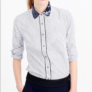 J. Crew Petite Sequin Collar Striped Perfect Shirt